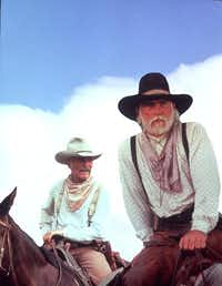 Robert Duvall, left and Tommy Lee Jones in the TV miniseries, <i>Lonesome Dove</i>.&nbsp;
