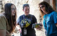 Dallas Zoo education instructor Elizabeth Fletcher (left), carnivore supervisor Lora Baumhardt (center), and education instructor Diane Baxter watch live camera footage of the zoo's newest species, an African painted dog named Ola.(Lynda M. Gonzalez/Staff Photographer)