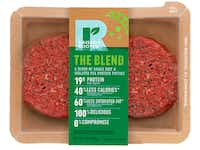 This undated product image provided by Tyson Foods, Inc. shows a plant-based meat alternative made by Tyson Foods. The blended burger made from beef and pea protein will follow this fall. The product will be sold under a new brand, Raised and Rooted, which will continue to develop new plant-based products and blends. <br>(Kevin Smith/AP)