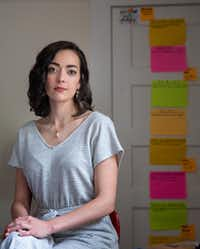 Dallas actress and writer Janielle Kastner scribbled the elements of storytelling for her podcast on sticky notes.(Lynda M. Gonzalez/Staff Photographer)