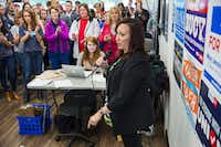 "Natalie Portman looks on as Mary Jennings ""MJ"" Hegar, then the Democratic nominee for Texas' 31st congressional district, spoke at her campaign office Thursday, Oct. 25, 2018, in Cedar Park. (Amanda Voisard/Austin American-Statesman)"
