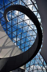 The atrium inside the Dali Museum in St. Petersburg, Fla., reflects the style of the Spanish artist.  (Katherine Rodeghier/Special Contributor)