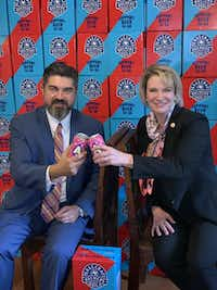 Beer-to-go proponents Rep. Eddie Rodriguez, D-Austin, and Sen. Dawn Buckingham, R-Lakeway, celebrated beer-to-go's passage by the Texas Senate late last month.(Rep. Eddie Rodriguez)