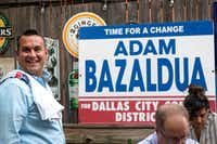 Adam Bazaldua, the candidate for District 7 member of the Dallas City Council, visits with supporters at his election-night watch party at Eight Bells Alehouse in Dallas on Saturday, June 8, 2019.(Lynda M. Gonzalez/Staff Photographer)