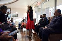 Candidate Tiffinni Young for city council district 7 speaks during Monday Night Politics with the candidates, presented by The Dallas Examiner, Monday March 25, 2019 at the African American Museum at Fair Park in Dallas. At far right is council member Kevin Felder, who is seeking reelection.(Ben Torres/Special Contributor)