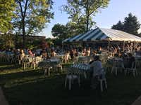 <p>Dining outside Webster University's Loretto-Hilton Center for the Performing Arts in St. Louis, before an Opera Theatre of St. Louis performance on June 13, 2019 (Scott Cantrell/Special Contributor)</p>