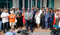 Dallas Mayor Pro Tem Casey Thomas' words of support Friday for Police Chief U. Renee Hall received cheers and applause during a during a rally by the African-American Pastors Coalition outside Dallas police headquarters.(Vernon Bryant/Staff Photographer)