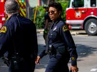 Dallas Police Chief U. Renee Hall at the scene of a crane collapse at the Elan City Lights apartments June 9. Severe storms caused the collapse that day that left a woman dead and several injured at the complex.(Shaban Athuman/Staff Photographer)