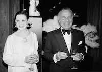 "In this Nov. 9, 1982 file photo, fashion designers Gloria Vanderbilt, left, and Bill Blass are shown at the 90th birthday celebration of artist Erte in New York. Vanderbilt, the intrepid heiress, artist and romantic who began her extraordinary life as the ""poor little rich girl"" of the Great Depression, survived family tragedy and multiple marriages and reigned during the 1970s and '80s as a designer jeans pioneer, died Monday, June 17, 2019, at the age of 95. (AP)"