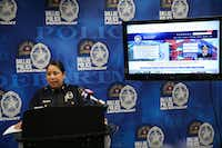 <p>Dallas Police Assistant Chief Angela Shaw speaks to members of the media regarding the department's new online reporting system for nonemergency, low-priority crimes on June 18, 2019.</p>(Ryan Michalesko/Staff Photographer)
