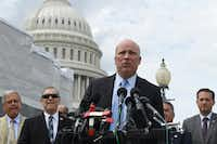 Rep. Chip Roy, R-Texas, center, speaks about immigration on the southern border during a news conference on Capitol Hill in Washington on Tuesday. (AP Photo/Susan Walsh)(Susan Walsh/AP)