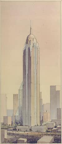 A 100-story tower proposed for Dallas in the 1980s(DMN files)