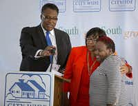 On Oct. 15, 2015, then-and-current council member Carolyn Arnold stood with former council members Dwaine Caraway and Carolyn Davis at the grand opening of Serenity Place, one of the projects mentioned in the OIG report as having no paperwork documenting how $2 million in federal dollars were spent.(2015 File Photo/Staff )