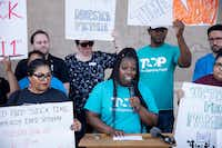 "<p><span style=""font-size: 1em; background-color: transparent;"">Community organizer Tempest McHenry gave remarks during a news conference outside Dallas City Hall to draw attention to the city's new ordinance requiring all employers withing Dallas to provide paid sick time to their workers.</span></p>(Shaban Athuman/Staff Photographer)"
