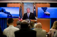 Secretary of State Mike Pompeo speaks at the State Department, Thursday, June 13, 2019, in Washington. Pompeo says Iran is believed to be responsible for attacks on 2 tankers near Persian Gulf.(Alex Brandon/AP)