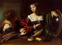 <i>Martha and Mary Magdalene</i>, by Old Master painter Michelangelo Merisi da Caravaggio, circa 1598, oil and tempera on canvas. The painting is on loan to the Dallas Museum of Art from the Detroit Institute of Arts and is on view June 23 to Sept. 22, 2019. The painting was a gift of the Kresge Foundation and Mrs. Edsel B. Ford.(DIA Photography)