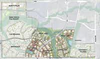 Preliminary plans for the 2,500-acre Fields project in Frisco show a combination of residential and commercial development.(Hart Howerton)