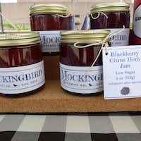 Stephanie Magilow's small-batch Mockingbird Gourmet Co. jams at St. Michael's Farmers Market include the names of the locals farms where the fruit is grown.(Kim Pierce)