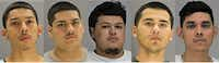 <p>From left: Erasmo Nunez has already been convicted of manslaughter in the 2017 death of 19-year-old Jacob Krabbe at an Irving apartment, while John DeLeon, Walker Rubio, Martin Saenz and Jose Vergara await trial on a murder charge in the case.</p>(Dallas County Jail)