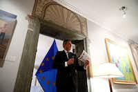 "<p>European Union Ambassador to the U.S. Stavros Lambrinidis has taken the unusual approach of displaying art from the tiny San Angelo Museum of Fine Arts in his official D.C. residence. ""<span style=""font-size: 1em; background-color: transparent;"">I never wanted to look at this house as a mirror in which to look at myself, but as a window in which to look at the United States,"" he said.&nbsp;</span></p>(Ting Shen/Special Contributor)"