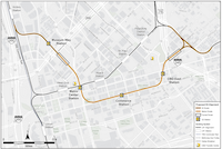 The latest DART map shows D2 coming to street level long after it passes under Interstate 345 on the Deep Ellum side. The city says that likely needs to be rethought.(Dallas Area Rapid Transit)