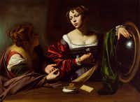 <i>Martha and Mary Magdalene</i>, by Old Master painter Michelangelo Merisi da Caravaggio, circa 1598, oil and tempera on canvas. The painting is on loan to the Dallas Museum of Art from the Detroit Institute of Arts and is on view through Sept. 22, 2019. The painting was a gift of the Kresge Foundation and Mrs. Edsel B. Ford.(DIA Photography)