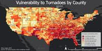 This map shows which counties in the U.S. are vulnerable to tornadoes.(Ethan Rogers)