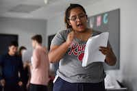 """""""You feel like you're more a part of it, you're more invested in it,"""" says Cicsy Rojas, 17, about the """"devised"""" style used by Cry Havoc Theater Company to create new plays, which are based on the teenage actors' own experiences.(Ben Torres/Special Contributor)"""