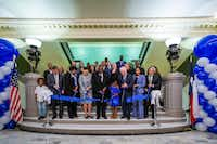 Dignitaries participated in a ribbon-cutting ceremony for the UNT Dallas College of Law's move into the new Dallas Law Center on June 6, 2019, in Dallas. With scissors (from left) are Steve Maruszewski, Vice Chancellor of the UNT System, Betty Stewart, Provost, UNT Dallas, Felecia Epps, Dean, UNT Dallas College of Law, state Sen. Royce West, Sky Turner, UNT Dallas President Bob Mong, UNT Dallas 2019 graduate Amanda Pajares and Lee Jackson, Chancellor Emeritus of the UNT System.(Smiley N. Pool/Staff Photographer)