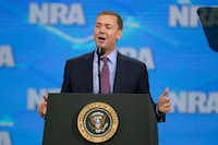National Rifle Association Institute for Legislative Action Executive Director Chris Cox spoke at the NRA-ILA Leadership Forum at Lucas Oil Stadium in Indianapolis in April 2019. (Michael Conroy/The Associated Press)