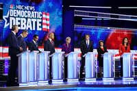 Democratic presidential candidates New York City Mayor Bill De Blasio (L-R), Rep. Tim Ryan (D-OH), former housing secretary Julian Castro, Sen. Cory Booker (D-NJ), Sen. Elizabeth Warren (D-MA), former Texas congressman Beto O'Rourke, Sen. Amy Klobuchar (D-MN) and Rep. Tulsi Gabbard (D-HI) take part in the first night of the Democratic presidential debate on June 26, 2019 in Miami, Fla.(Joe Raedle/Getty Images)