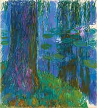 """Claude Monet (French, 1840-1926) """"Weeping Willow and Water Lily Pond"""" 1916-19 Oil on canvas 78 3/4 x 70 3/4 in. (200 x 180 cm)(Private collection/Kimbell Art Museum)"""