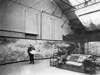 Claude Monet in his studio at Giverny 1920 Gelatin silver print(Henri Manuel/Kimbell Art Museum)