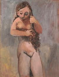 Pablo Picasso's <i>Nude Combing Her Hair</i>&nbsp;will be included alongside works by Pierre-Auguste Renoir in an upcoming exhibition at the Kimbell Art Museum.<br>(Kimbell Art Museum)