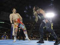 "Professional wrestler Lance Hoyt — who goes professionally by the name ""The American Psycho"" Lance Archer — of Cedar Hill, Texas (right) a professional wrestler known as ""The American Psycho"" in Japan's version of WWE, faces off against Toru Yano (left) in March 2018.(Esther Lin/<p><span style=""font-size: 1em; background-color: transparent;"">NJPW</span><br></p><p></p>)"