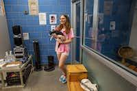 Destini Gutierrez holds Zorro the cat at the Dallas Animal Services facility on Thursday.(Lynda M. Gonzalez/Staff Photographer)