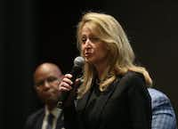 Dallas mayoral candidate Lynn McBee speaks during the Downtown Residents Council mayoral forum at The Dallas Morning News on Thursday, April 11, 2019.(Rose Baca/Staff Photographer)