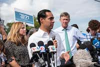 Democratic presidential candidate Julian Castro talked to media outside of the Homestead Detention Center on June 28, 2019, in Homestead, Fla.(Jennifer King/Miami, Fla.)