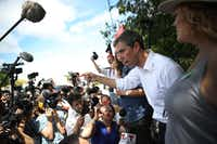 Democratic presidential candidate Beto ORourke speaks to the media as he visits the outside of a detention center for migrant children on June 27, 2019, in Homestead, Fla.(Joe Raedle/Getty Images)