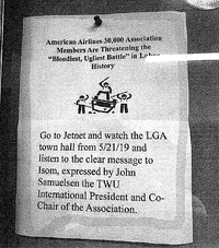 "An American Airlines mechanics' union flier submitted in court filings promises the ""bloodiest, ugliest battle"" in labor history."