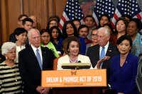 House Speaker Nancy Pelosi spoke earlier this month in Washington about the American Dream and Promise Act, which offers a pathway to citizenship for those with Deferred Action for Childhood Arrivals, Temporary Protected Status, and Deferred Enforced Departure and similarly situated immigrants who have spent much of their lives in the United States.(Susan Walsh/The Associated Press)