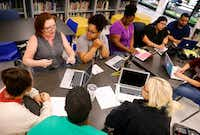 <p></p><p>Tamara Coalson (top left) leads a discussion among teachers participating in a Professional Learning Community, a collaborative meeting where they can share ideas and experiences, at Richardson ISD's Aikin Elementary in Dallas on June 28, 2019.</p><p></p>(Tom Fox/Staff photographer)