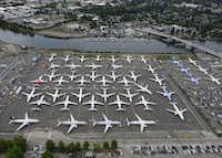 SEATTLE, WA - JUNE 27: Boeing 737 MAX airplanes are stored on employee parking lots near Boeing Field, on June 27, 2019 in Seattle, Washington. After a pair of crashes, the 737 MAX has been grounded by the FAA and other aviation agencies since March, 13, 2019.  (Photo by Stephen Brashear/Getty Images)(Stephen Brashear/Getty Images)