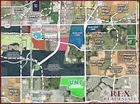 The Jones family's Blue Star Land now owns both sides of Rock Hill Parkway at the tollway (pink areas).(Rex Real Estate)