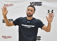 Stephen Curry of the Golden State Warriors gestures during a news conference on his Underrated Tour, a series of basketball camps for high school players, at a university in Tokyo on June 23, 2019.(Kazuhiro Nogi/Agence France-Presse)