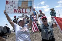 Trump supporters demonstrate outside a Customs and Border Protection station in Clint on Monday during a visit by the Congressional Hispanic Caucus.(Joel Angel Juárez/Special Contributor)