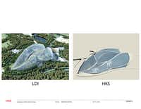 Dallas-based HKS won a design competition a few years ago for a high-profile horticulture expo in Qingdoa, China, only to have its plans ripped off without compensation, said Ralph Hawkins, the firm's chairman emeritus. A side-by-side rendering of HKS' design and the one ultimately done by a local design institute in China shows the similarities.(Courtesy of Ralph Hawkins/HKS/Courtesy of Ralph Hawkins/HKS)