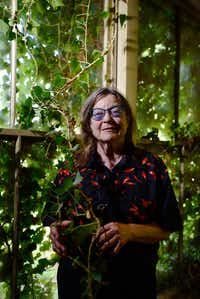 Barbara Fix, 73, of Santa Fe, N.M., holds on to vines that have grown through windows as she visits her childhood home one last time before it's demolished.(Ben Torres/Special Contributor)