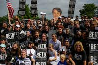 Democratic presidential candidate Beto O'Rourke posed for a photo with his campaign workers during the Fourth of July parade on in Independence, Iowa, on Thursday. Democratic candidates for president including Joe Biden, Kamala Harris, Pete Buttigieg and Bernie Sanders celebrated America's independence in Iowa.(Joshua Lott/Getty Images)
