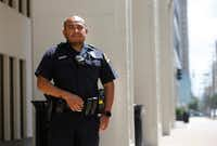 Dallas police Officer Jorge Barrientos poses for a portrait near El Centro College in downtown Dallas on July 5, 2019. Officer Barrientos was one of many officers who responded to the call as a gunman in downtown Dallas shot and killed five officers on July 7, 2016.(Vernon Bryant/Staff Photographer)